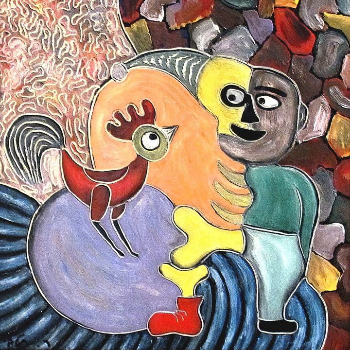 Figure and a rooster by rafi talby - RAFI TALBY - PAINTER