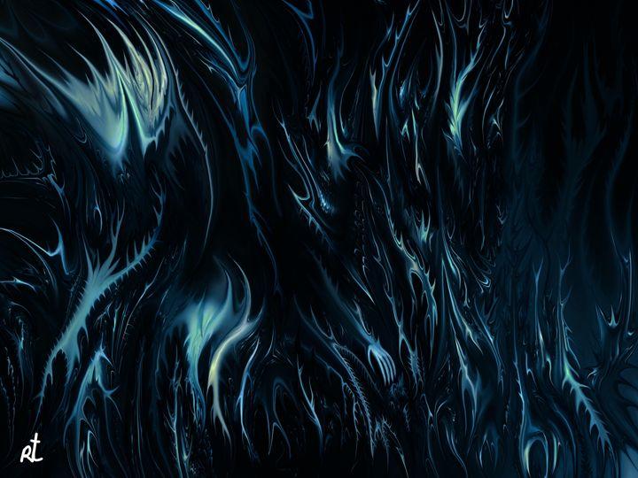 abstract blue by rafi talby - RAFI TALBY - PAINTER