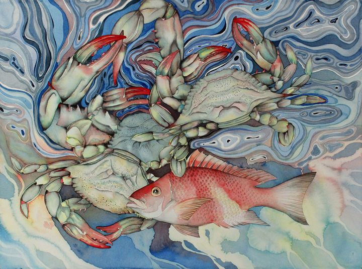 Three blue crabs and snapper - Liduine bekman