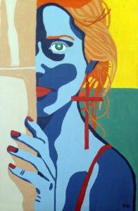 Woman with Cross Earring