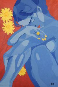 Woman with Flowers - Randall Steinke