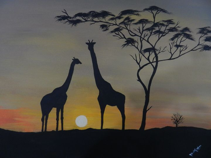 Sunset Giraffe - art of mine