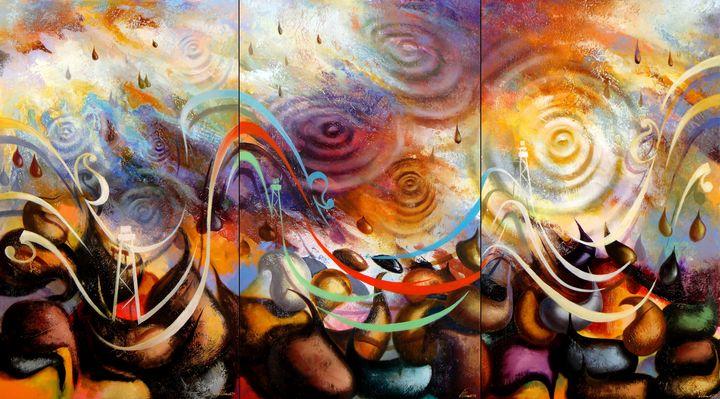 Caspian drops.(triptych).140X255 - Ilhamart