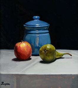 still life with fruit and blue pot