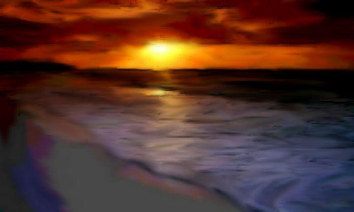 Evening Glow on the Beach - LeMarrArt