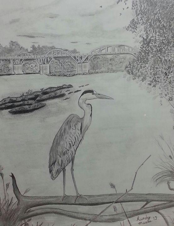 River Heron - Randy Maske Artist