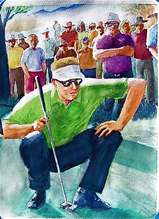 Golfer Putting - Original Watercolor Paintings