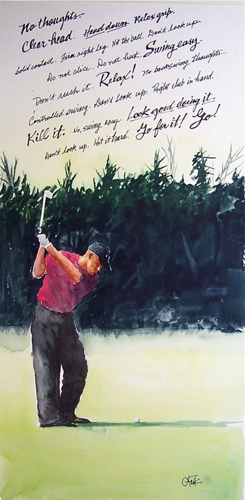 Back Swing Thoughts #1 - Original Watercolor Paintings
