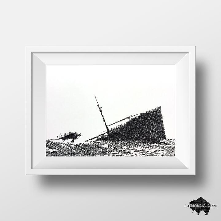 Sinking Ship No. 1 - Ink Drawing - Matt Street