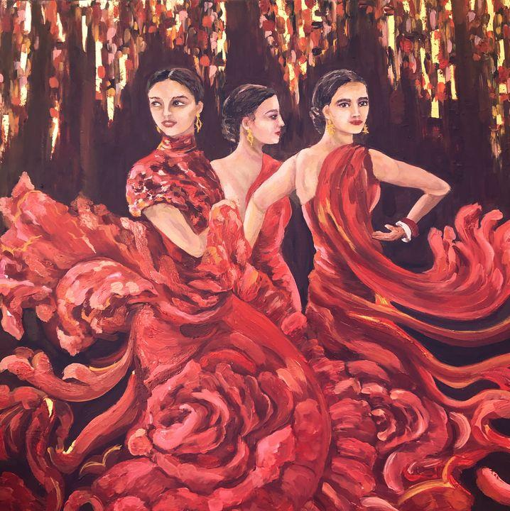 Flamenco, golden passion - Pintor Nicolas