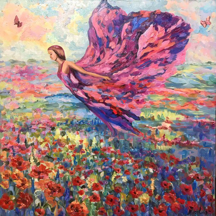 Flight over poppy field/ landscape - Pintor Nicolas