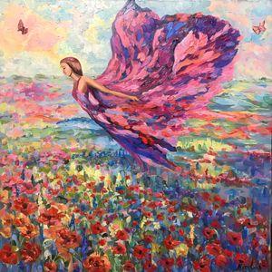 Flight over poppy field/ landscape