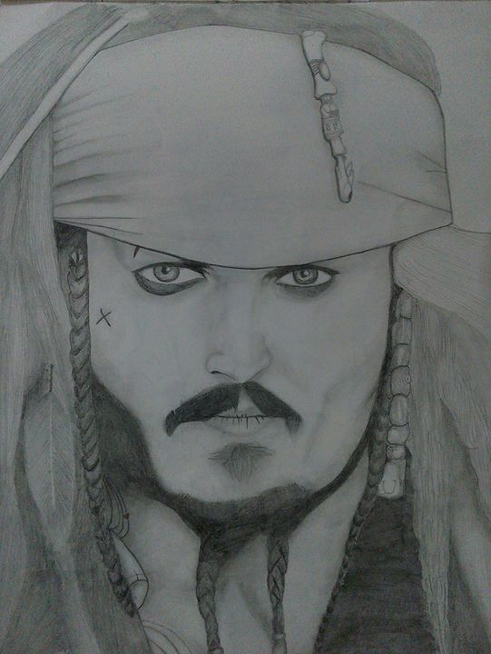 pencil sketch  of  jack sparrow - pankaj's artwork