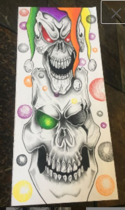 JOKER SKULL Greeting Card - Prison Art by Inmate Artworks