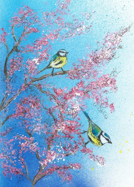 Blue Tits and Cherry Blossom - Tracey Unwin
