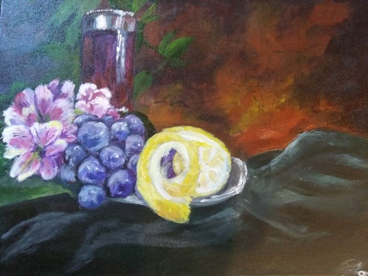 Fruit and wine still life - ArtprincessShop