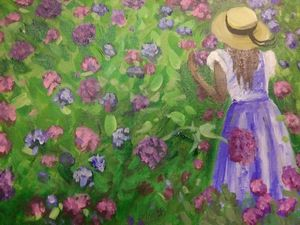 Girl with hydrangeas