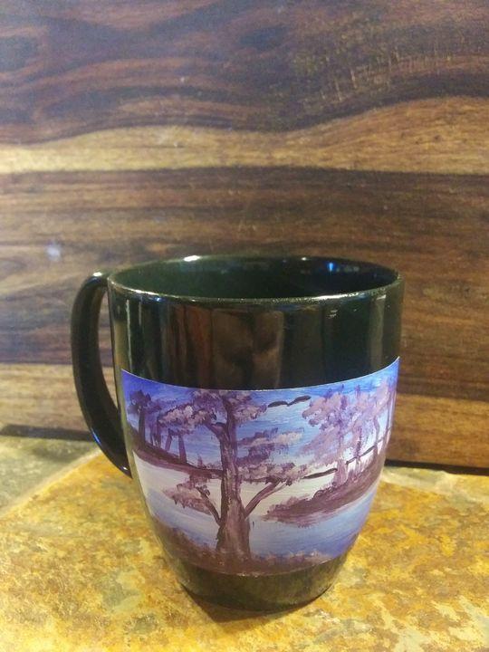 Lavender lake hand painted coffee mu - ArtprincessShop