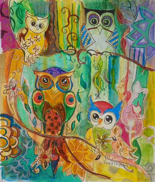 4 hippy owls - Flyprint