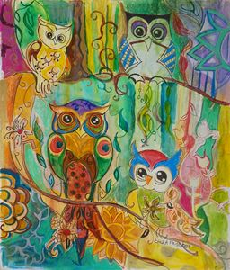 4 hippy owls