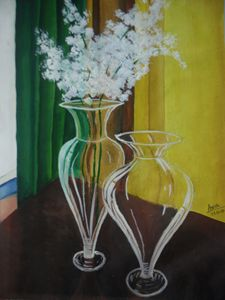 glass vase with white flower
