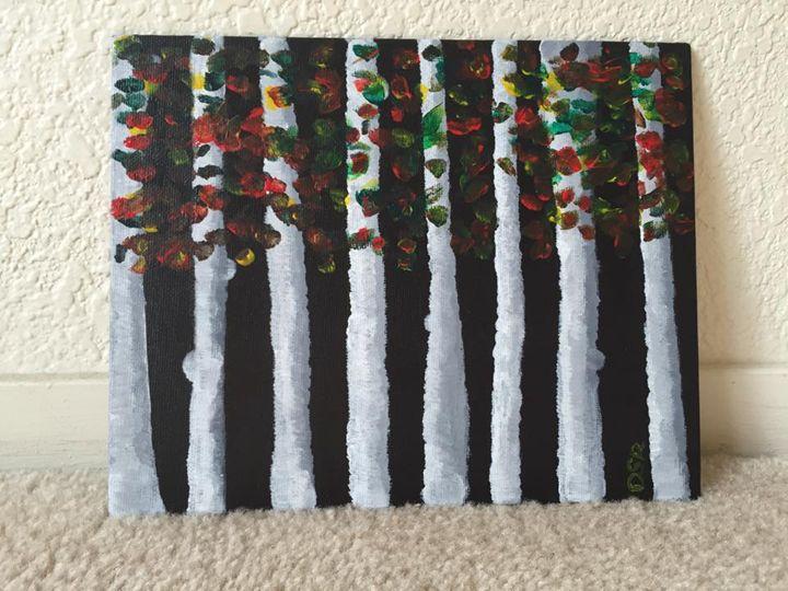Tree Bark with Falling Autumn Leaves - Dee's SplashWorks