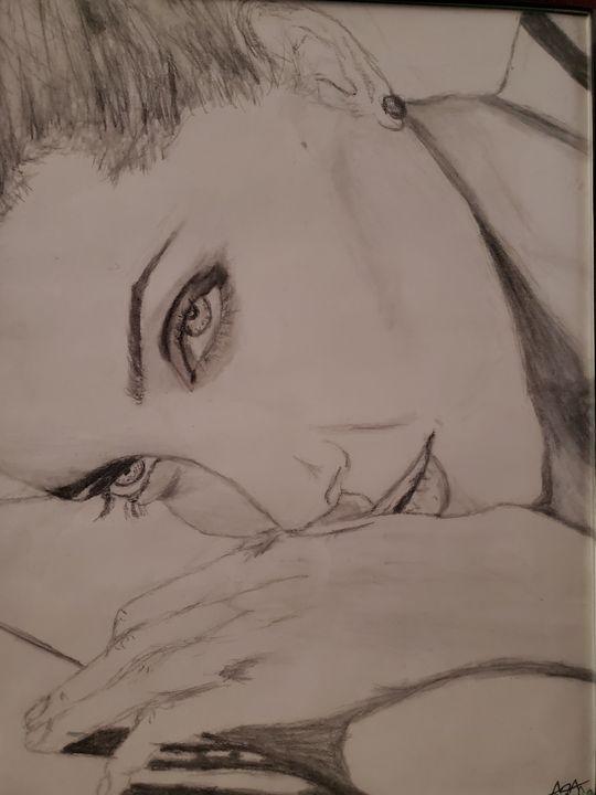 Angelina Jolie Poolside - AAnsel Hand-drawn Portraits