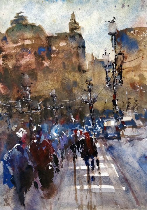 People in the City - Sunil Kalmady Art