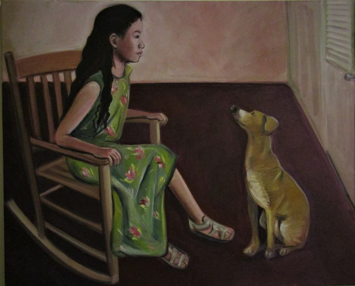 Sophia and a dog - Art By Cyril