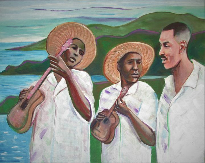 Ukulele Players in Trinidad - Art By Cyril