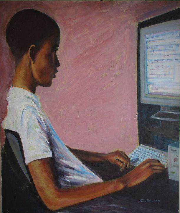 CJ on computer - Art By Cyril