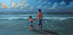 Joseph and Sophia on the beach
