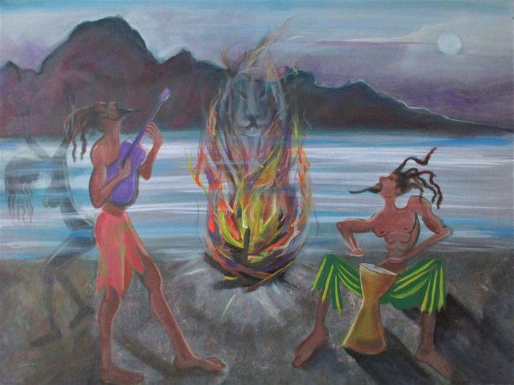 Rastas on the beach - Art By Cyril