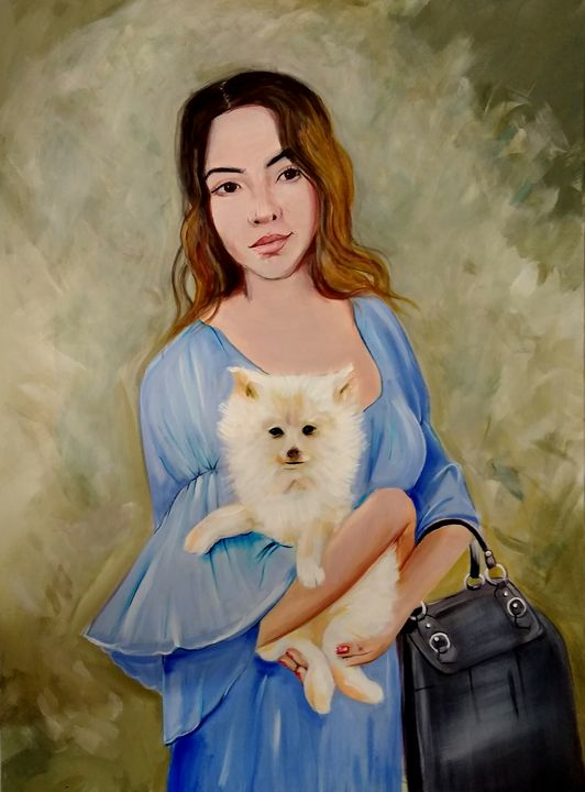 Girl and her Dog - Art By Cyril