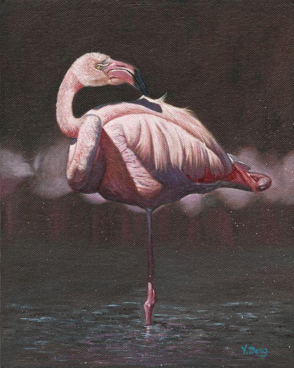 Oil painting - Flamingo - Yue Zeng