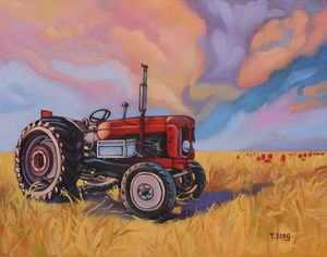 Tractor in field oil painting - Yue Zeng