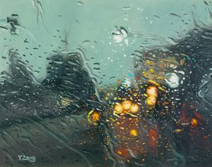 Rainy street with lights - Yue Zeng