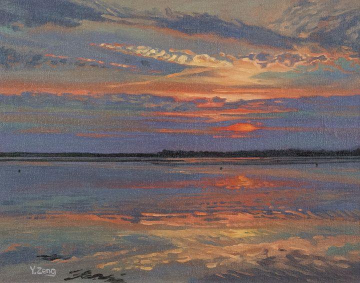 Lake sunset landscape study - Yue Zeng