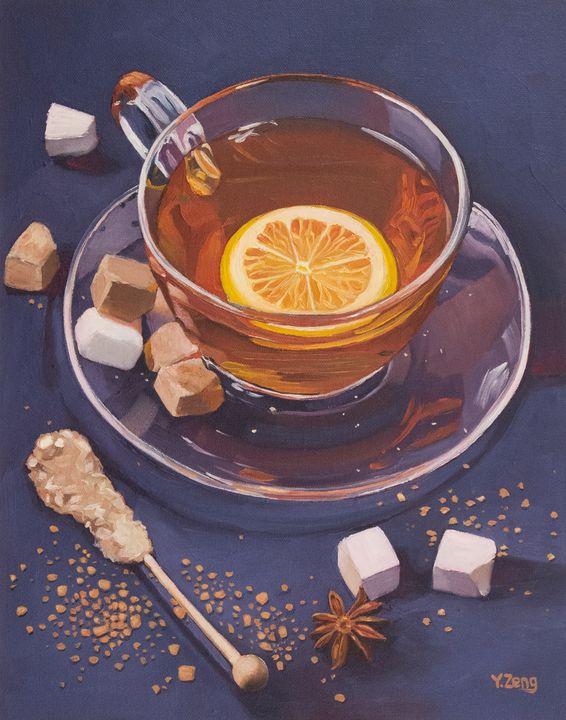 Lemon tea and sugar oil painting - Yue Zeng
