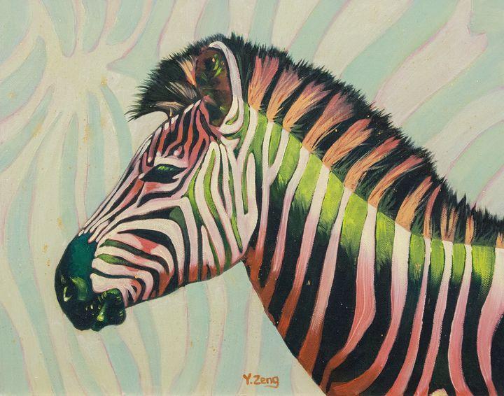 Neon zebra oil painting - Yue Zeng