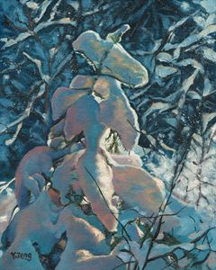 Snow covered fern oil painting