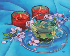 Tea and candles oil painting