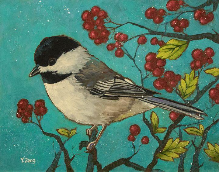 Chickadee bird with red berries - Yue Zeng