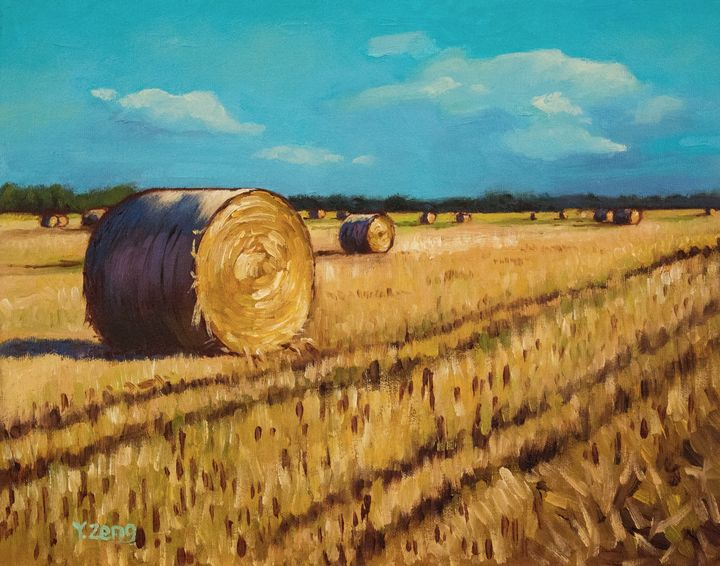 Straw bales in filed oil painting - Yue Zeng