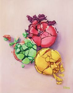 Smashed macarons oil painting