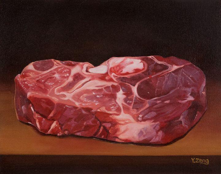 Raw steak oil painting - Yue Zeng