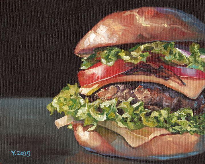 Hamburger oil painting - Yue Zeng