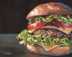 Hamburger oil painting