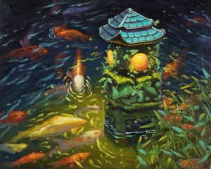 Stone lantern with koi fish