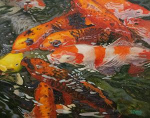 Koi fishes in water Oil painting
